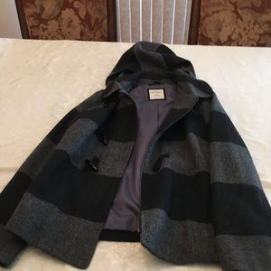 Old Navy Black and Grey Hooded Peacoat